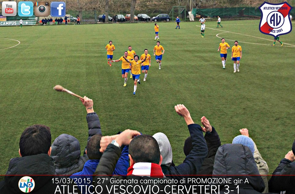 ATLETICO VESCOVIO L'ESULTANZA DOPO IL 2-0 PARZIALE AL CERVETERI