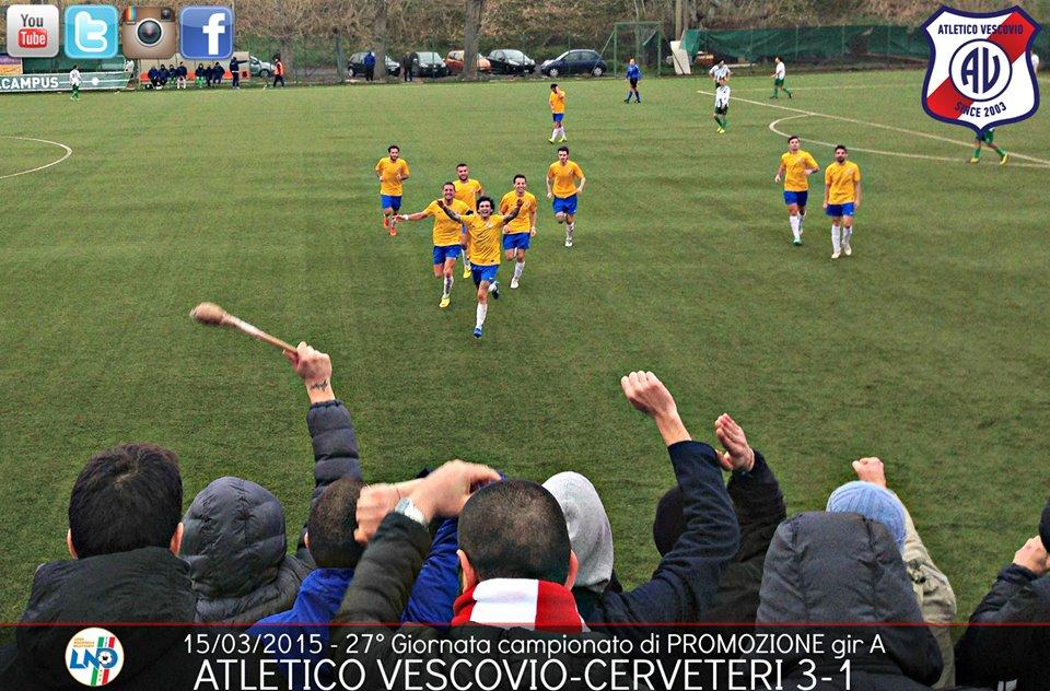 ATLETICO VESCOVIO L'ESULTANZA DOPO IL 2-0 PARZIALE AL CERVETERI